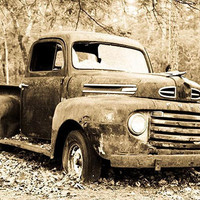 Old Sepia Toned Print of Ford F 1 Truck Fine by JohnHarmonGallery