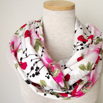 Poppies Daises and Dogwoods Floral Loop Infinity Skinny Scarf