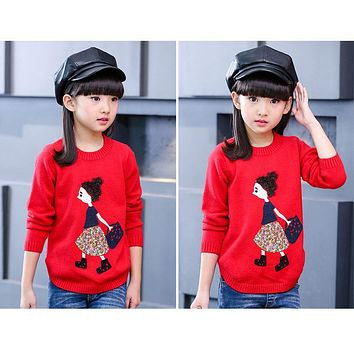Spring and autumn large girls fashion sweater children casual cartoon long sleeve clothes little girls pattern sweater