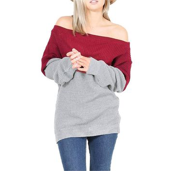 Fashion Sexy Women Sweater Full Sleeve Solid Sweater Off Shoulder Boat Neck Design Patchwork Pullover Sweaters
