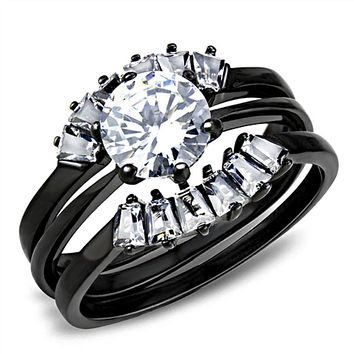 WildKlass Stainless Steel Ring IP Black(Ion Plating) Women AAA Grade CZ Clear