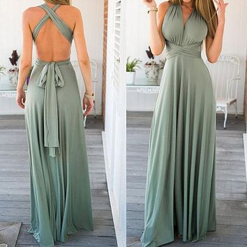 Women Summer Chiffon Maxi Dress Long Sexy Bandage Dress Party Floor Length Sleeveless Multiway Convertible Robe Femme Vestidos