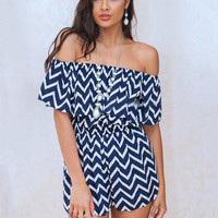 Blue and White Wave Pattern Print Off-Shoulder Ruffled Romper
