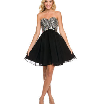 Black Rhinestone Lace Up Strapless Chiffon Dress   2015 Homecoming Dresses