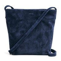 BAGGU Leather Cross Body Purse Midnight Suede