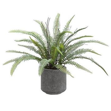 "Artificial Fern Plant in Cement Pot - 16"" Tall"