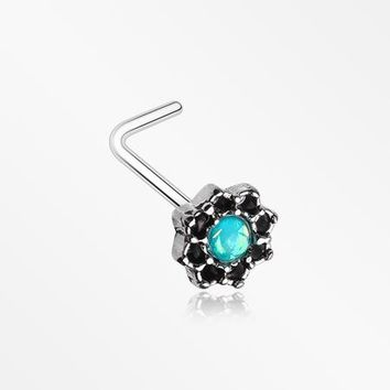 Lotus Opal Sparkle Filigree Icon L-Shaped Nose Ring