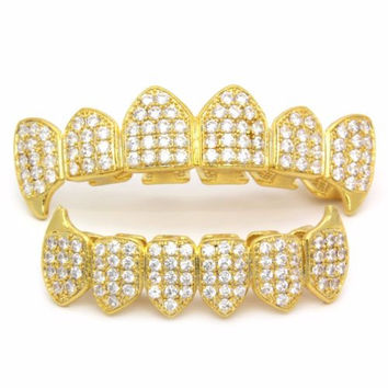 High Quality 18 Gold Plated Palted CZ Top Fang & Bottom Fang Grillz