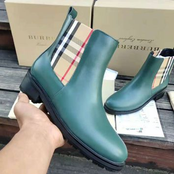 Burberry 2018 autumn and winter new trend women's fashion plaid printed ankle boots