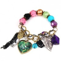 World Pride Fashion Lady Cute Nice Charm Lovely Heart Peacock Leaf Key Stretch Link Bracelet Chain
