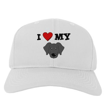 I Heart My - Cute Black Labrador Retriever Dog Adult Baseball Cap Hat by TooLoud