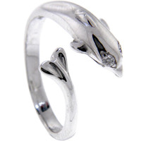 Sterling Silver 925 Cubic Zirconia DOLPHIN Toe Ring | Body Candy Body Jewelry