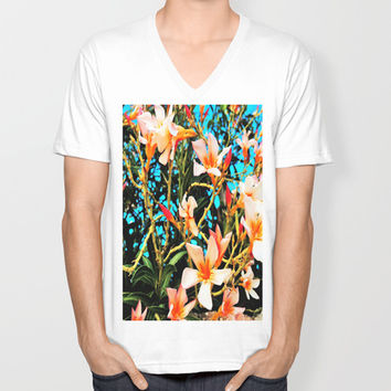 Flowers on Fire Unisex V-Neck by Yuval Ozery