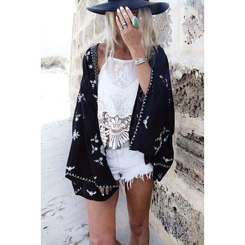 Print Loose Chiffon Lace Patchwork Blouse