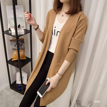 Autumn winter new women's wear, pure color loose knit cardigan jacket