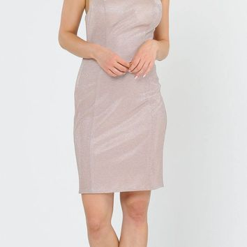Short Glittery Cocktail Dress with Spaghetti Straps Rose Gold