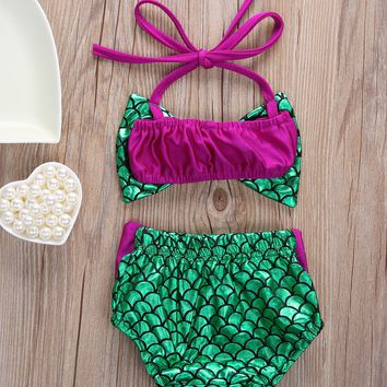 Newborn Baby Girls Mermaid Bowknot Bikini Set Swimwear Swimsuit Bathing Suit