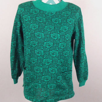 Women's Green and Black Shirt - Haband for Her - Green Flowers Front Pockets - Size Medium - Free US Shipping