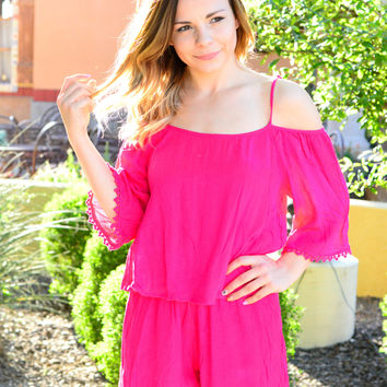 POOL PARTY ROMPER IN HOT PINK