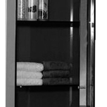 Aeri vertical glass wall mount storage unit with three shelves and mirror door