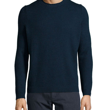 Vernon Crewneck Wool Sweater, Navy, Size: