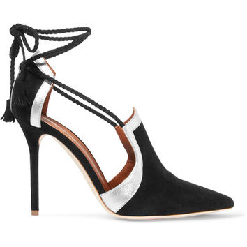 Malone Souliers - Haji metallic leather-trimmed suede pumps
