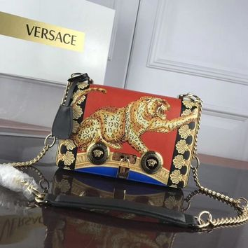HCXX 007 Versace Leather printed Tiger single room ladies bag 24-7-16cm Red Yellow