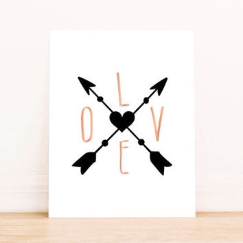 Valentines print I love you Nursery wall art Printable  Wall art Decor illustration decoration quotes Arrow Pirnt Kids Room Decor Poster