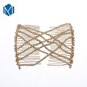 M MISM Women Magic Elasticity Hair Comb Pearl Double Clip Stretchy Hair Styling Making Tool Combs Decoration Beads Accessories