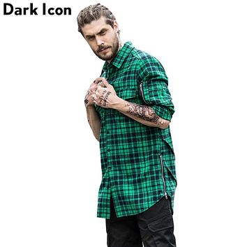Street wear Side Zipper Scallop Hip-hop Shirt Men Long Sleeve Spring Curve Hem Flannel Plaid Shirts Men Extended Men's Shirt