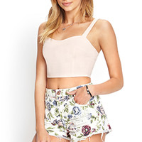 FOREVER 21 Wild Flower Denim Cutoffs Cream/Multi