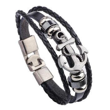 Cuff Leather Bracelets Men Wrist Band Vintage Punk Rock Fashion Anchor Bracelet Alloy Beads Charm For Men And Women Jewelry