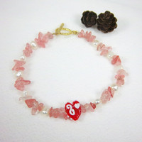 Saint Valentines Day Pink and White Freshwater Pearl and Quartz Gemstone Anklet Kawaii Jewelry