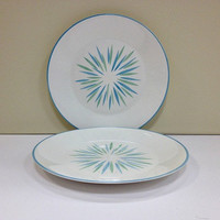 Star Burst Plates Mid Century Modern Blue and Green Plates