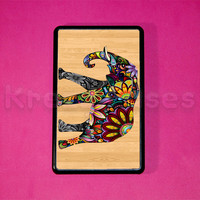 Kindle Fire Case - Elephant on wood print kindle fire case- Amazon Kindle fire HD case