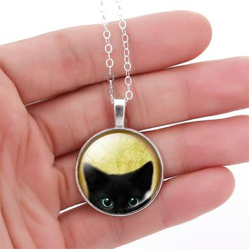 Mystical Black Cat Necklace -  Vintage Glass Cabochon Silver Bronze Chain Necklace for Women Girls