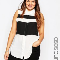 ASOS CURVE Sleeveless Colour Block Blouse at asos.com