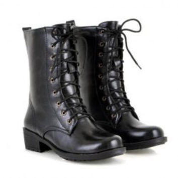 Fashion Style Women's Pretty Combat Boots With Brown and PU Leather Design