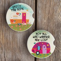Car  Coasters:  Set  of  2  Camper  Car  Coasters  From  Natural  Life