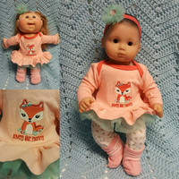 "15 inch Baby Doll Clothes ""Lovely Like Mommy"" doll outfit Will fit Bitty Baby® Bitty Twins®  dress capri leggings socks headband G8"