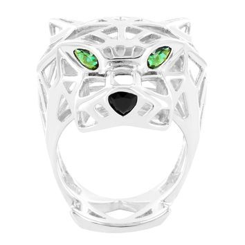 Men's Sterling Silver Green Eyes Custom Panther Ring