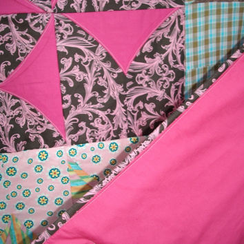Sale - Handmade Pinwheel Pattern Lap Quilt - Modern Designer Colors, Blanket or Toddler Bed