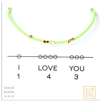 Friendship Bracelet - I Love You 143 - Mint