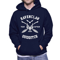 Ravenclaw Quidditch team Captain White print printed on Navy, Maroon or Black Hoodie