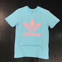 Adidas Popular Unisex Loose Print Short Sleeve T-Shirt Top Blue I-XMCP-YC
