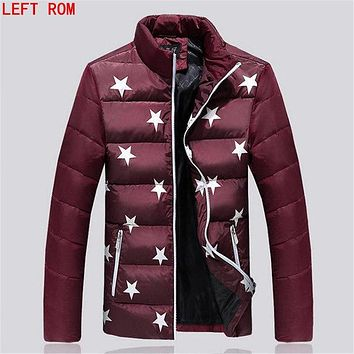 2017 New Winter Down Jacket Men's Gray Duck Down Jacket Korean Slim Fit Fashion Warm Short Paragraph Down printing Jacket Men