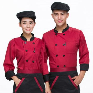 Autumn Winter Food Service Clothes Kitchen Chef Jackets Uniform Long Sleeve Hotel Cook Workwear Clothes Restaurant Chief Clothes