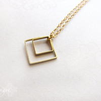 squared - double brass squares simple gold necklace