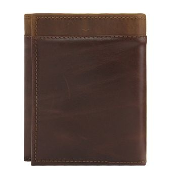 Women's 100% Genuine Leather -- Compact Trifold Wallets-The Jill- Two Tone --Waxed Antique Brown
