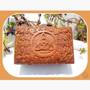 Triquetra Wooden Carved Trinket Box